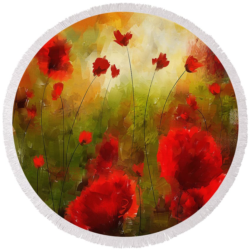 Poppies Round Beach Towel featuring the painting Beauty In Bloom by Lourry Legarde
