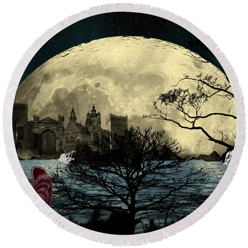 Skyline Round Beach Towel featuring the digital art Beauty In Darkness by Teri Schuster
