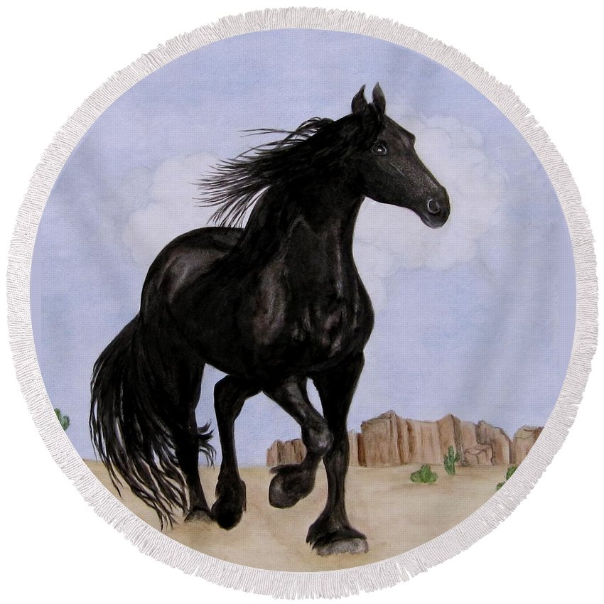 Friesian Horse Round Beach Towel featuring the painting Beauty Running Free by Sandra Maddox