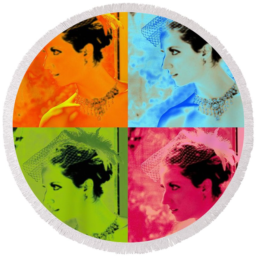 Pop Art Beauty Alicegipsonphotographs Round Beach Towel featuring the photograph Beauty Times Four Two by Alice Gipson