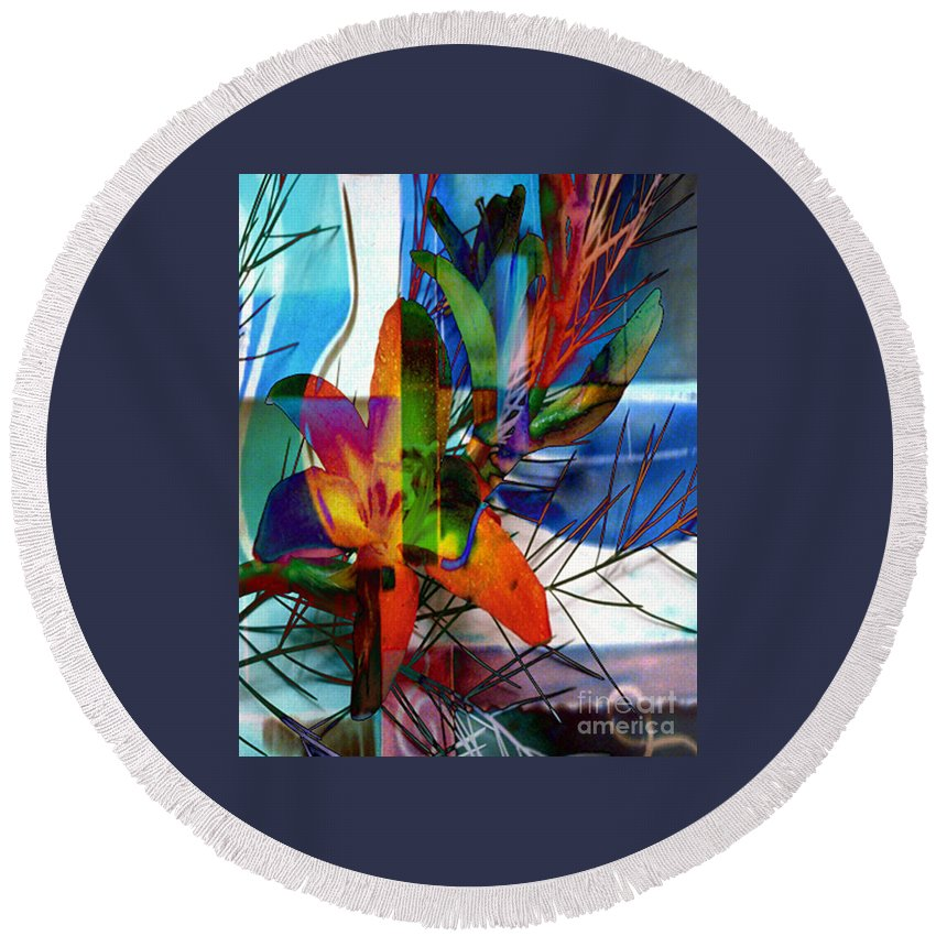 Digital Image Round Beach Towel featuring the digital art Beauty by Yael VanGruber