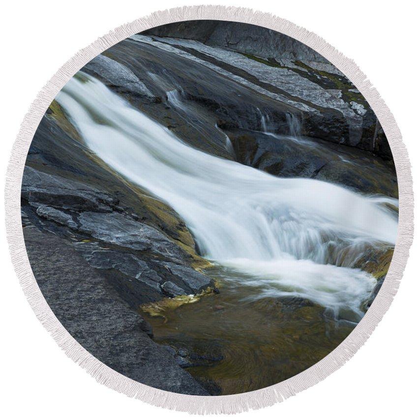 Waterfall Round Beach Towel featuring the photograph Beaver Falls Detail 1 by John Brueske