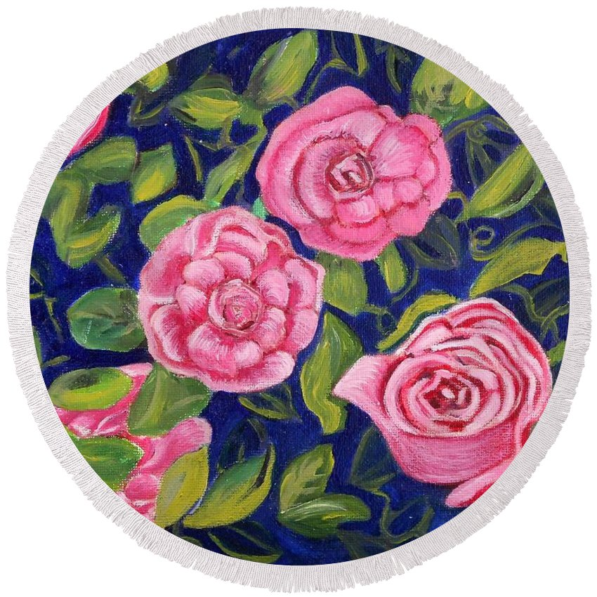 Roses Round Beach Towel featuring the painting Bed Of Roses by Caroline Street