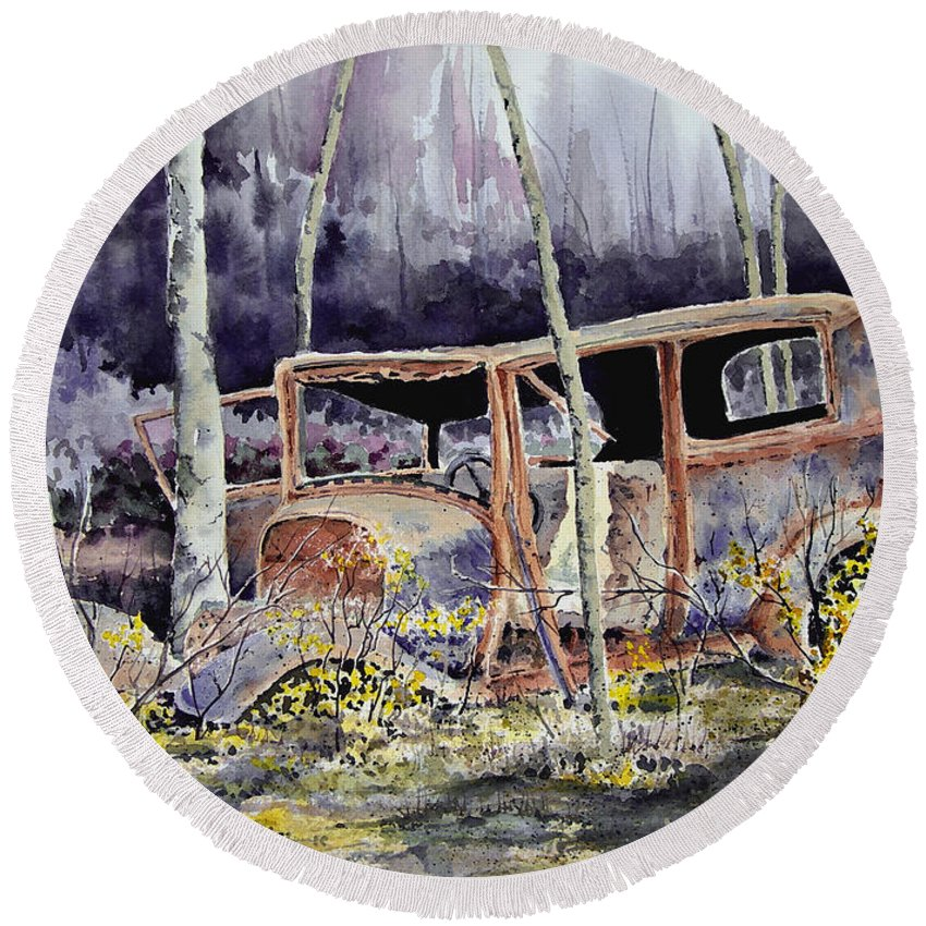 Car Round Beach Towel featuring the painting Been There by Sam Sidders