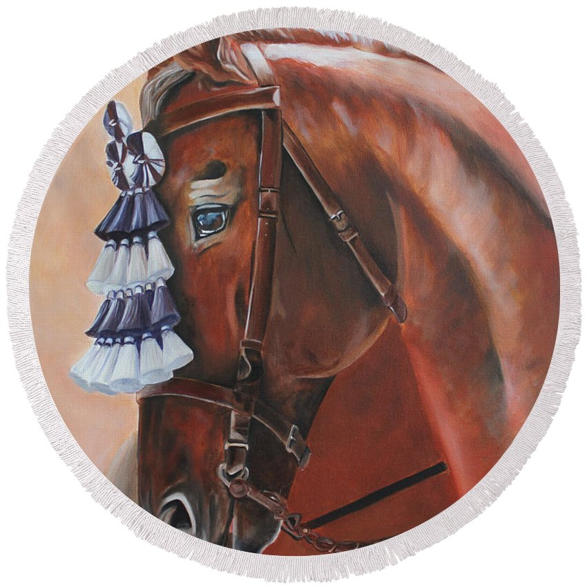 Dressage Round Beach Towel featuring the painting Before The Show by Debbie Hart