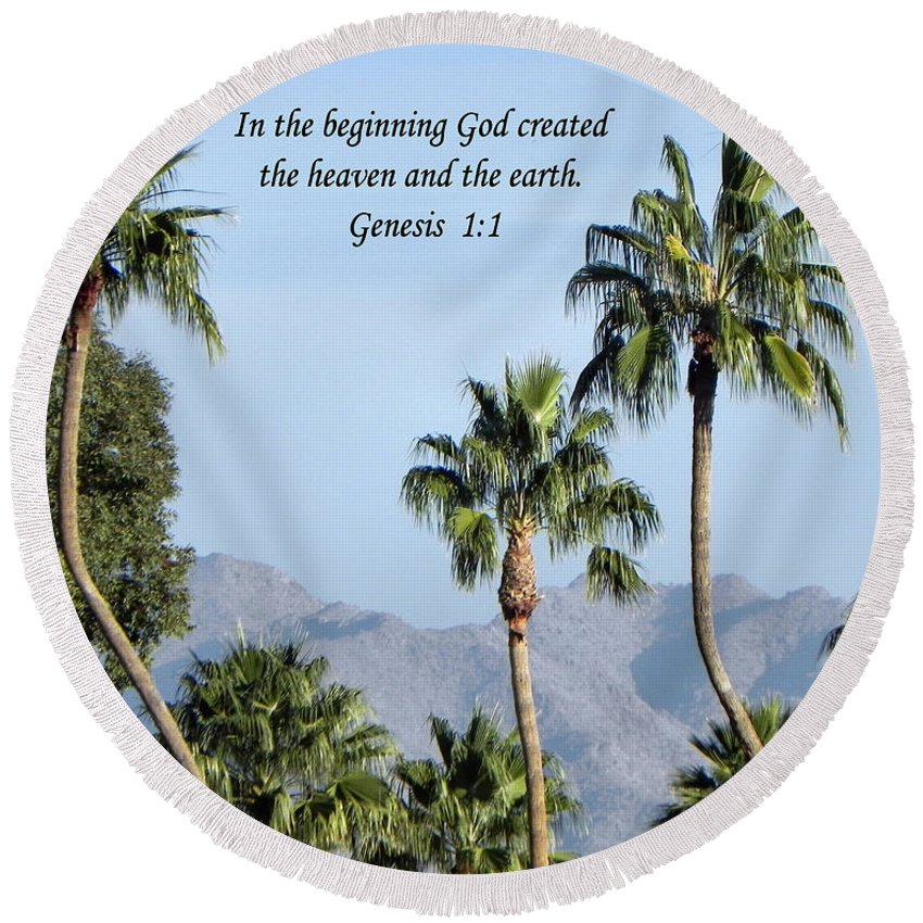Palm Trees Round Beach Towel featuring the photograph Beginning by Deb Halloran