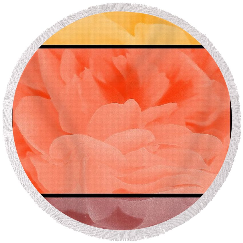 Begonia Round Beach Towel featuring the painting Begonia Petals Triptych by J McCombie