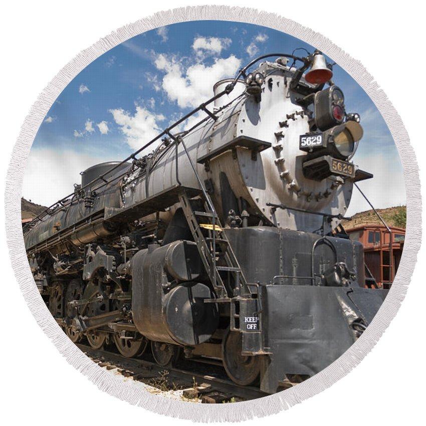 Behemoth Steam Locomotive Round Beach Towel