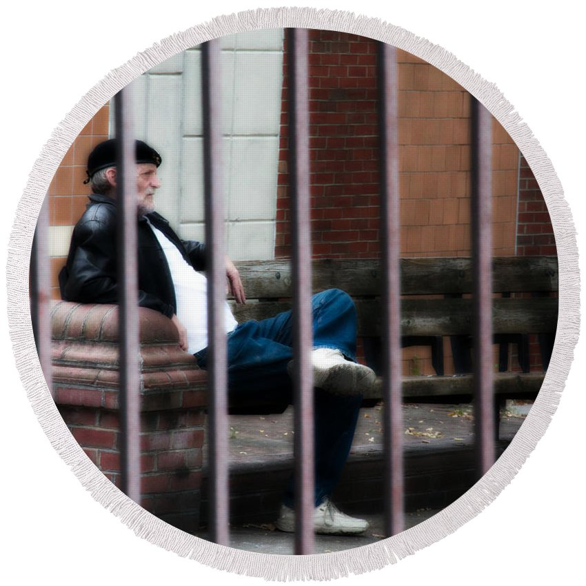 Germantown Round Beach Towel featuring the photograph Behind Bars by Alice Gipson