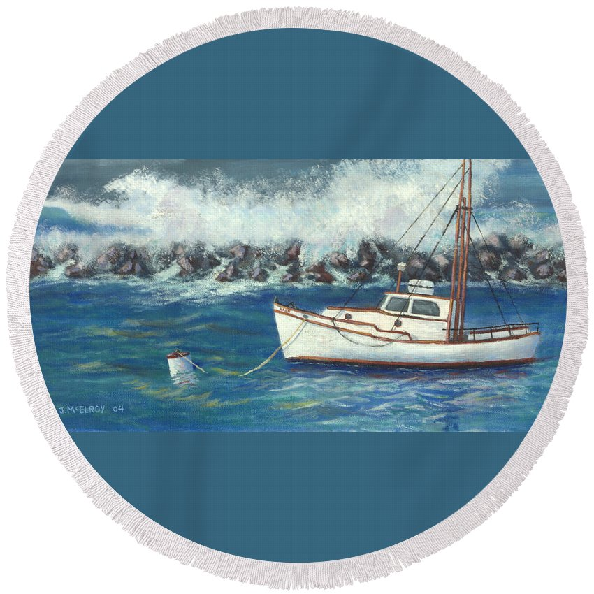 Ocean Round Beach Towel featuring the painting Behind The Breakwall by Jerry McElroy