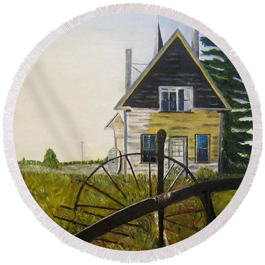 Church Round Beach Towel featuring the painting Behind The Old Church by Marilyn McNish