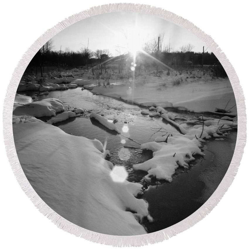 Round Beach Towel featuring the photograph Behind Vancher Davidge Park by Chet B Simpson