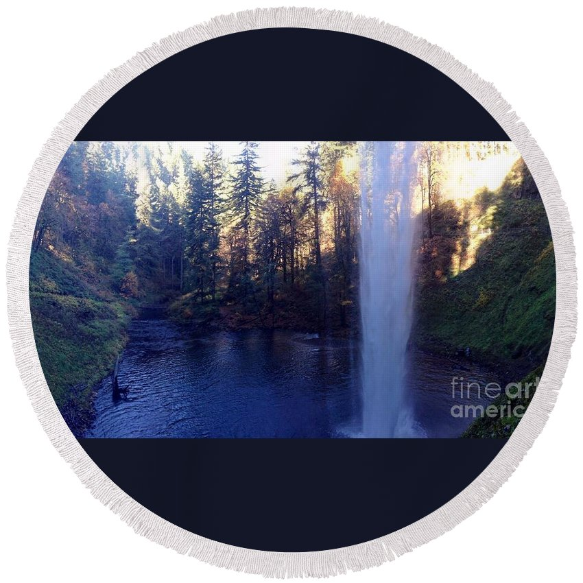 Waterfall Round Beach Towel featuring the photograph Behind Water Fall by Susan Garren