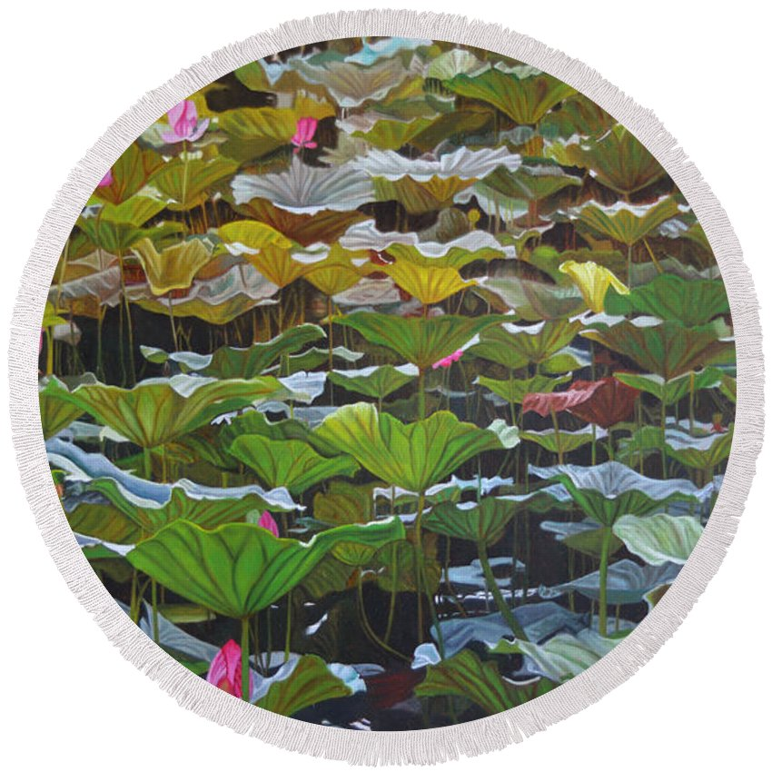 Waterlily Round Beach Towel featuring the painting Beijing In August by Thu Nguyen