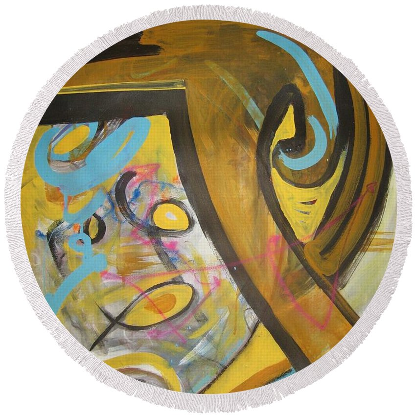 Abstract Round Beach Towel featuring the painting Being Easy Original Abstract Colorful Figure Painting For Sale Yellow Umber Blue Pink by Seon-Jeong Kim