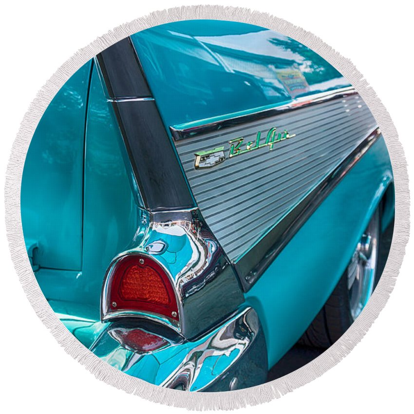Automobile Round Beach Towel featuring the photograph Bel Air Tail Fin by Lauri Novak