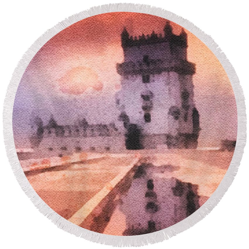 Belem Tower Round Beach Towel featuring the painting Belem Tower by Mo T