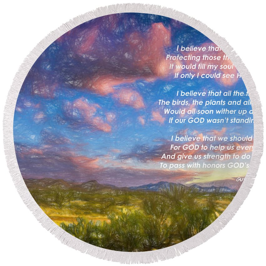 Sunset Round Beach Towel featuring the photograph Believe by Larry White