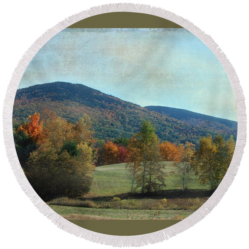 Belknap Mt Round Beach Towel featuring the photograph Belknap From Rogers Field by Mim White