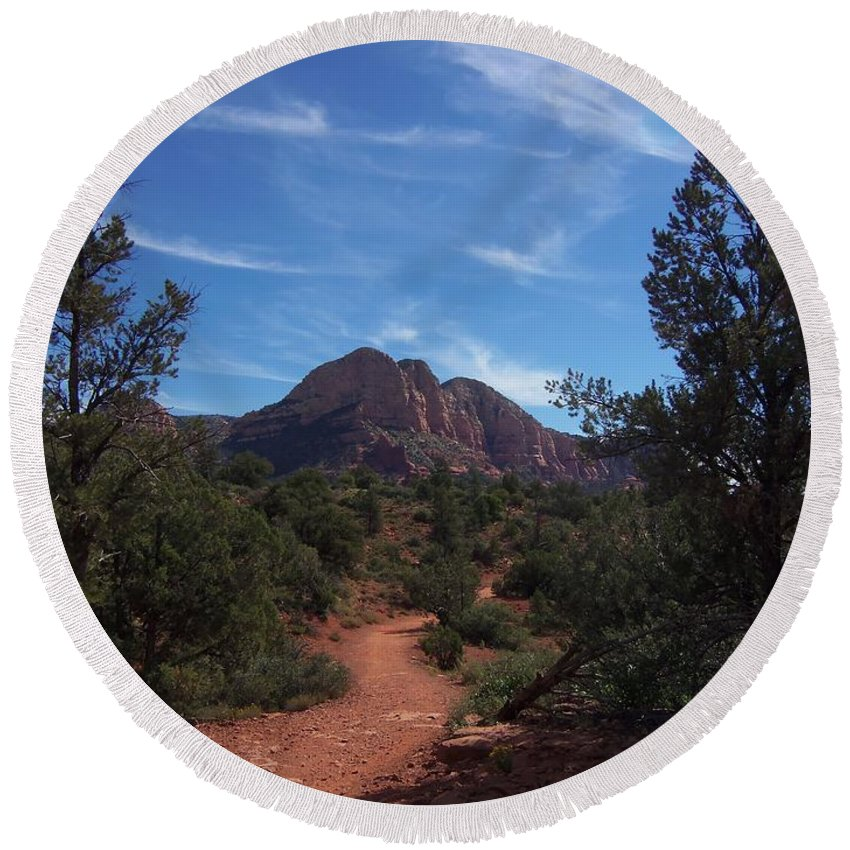 Arizona Round Beach Towel featuring the photograph Bell Rock Trail by Two Bridges North