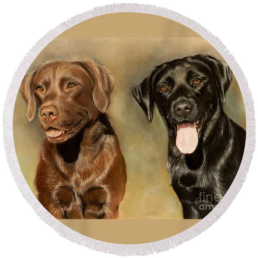 Labrador Round Beach Towel featuring the drawing Bella And Sophie by Caroline Collinson
