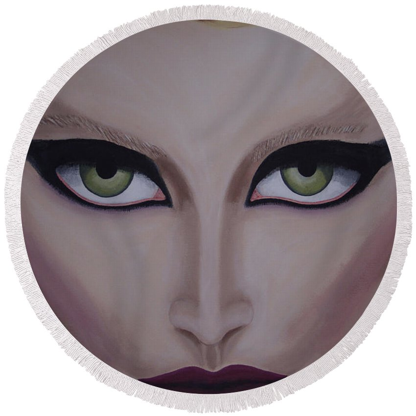 Beautiful Round Beach Towel featuring the painting Belle by Dean Stephens