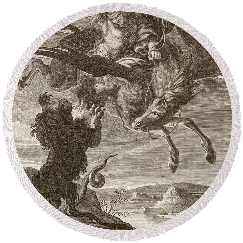 Lion Round Beach Towel featuring the drawing Bellerophon Fights The Chimaera, 1731 by Bernard Picart