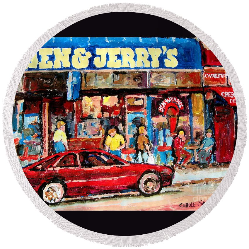 Cafescenes Round Beach Towel featuring the painting Ben And Jerrys Ice Cream Parlor by Carole Spandau