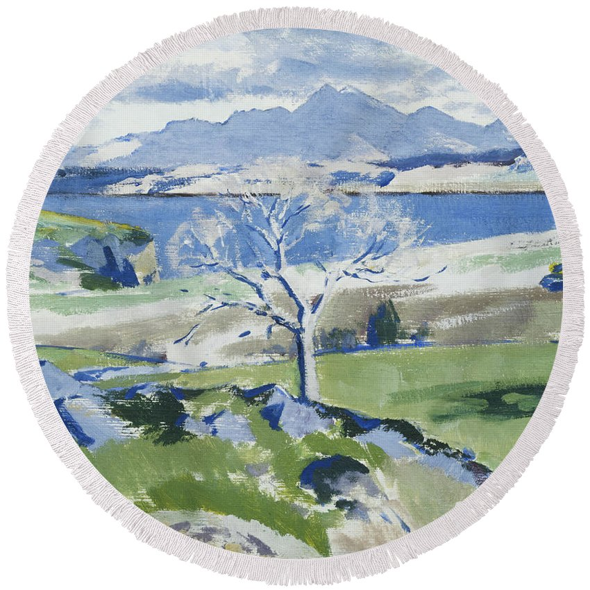 20th Century Round Beach Towel featuring the painting Ben Cruachan From Achnacraig by Francis Campbell Boileau Cadell