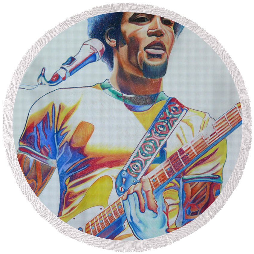 Ben Harper Round Beach Towel featuring the drawing Ben Harper by Joshua Morton