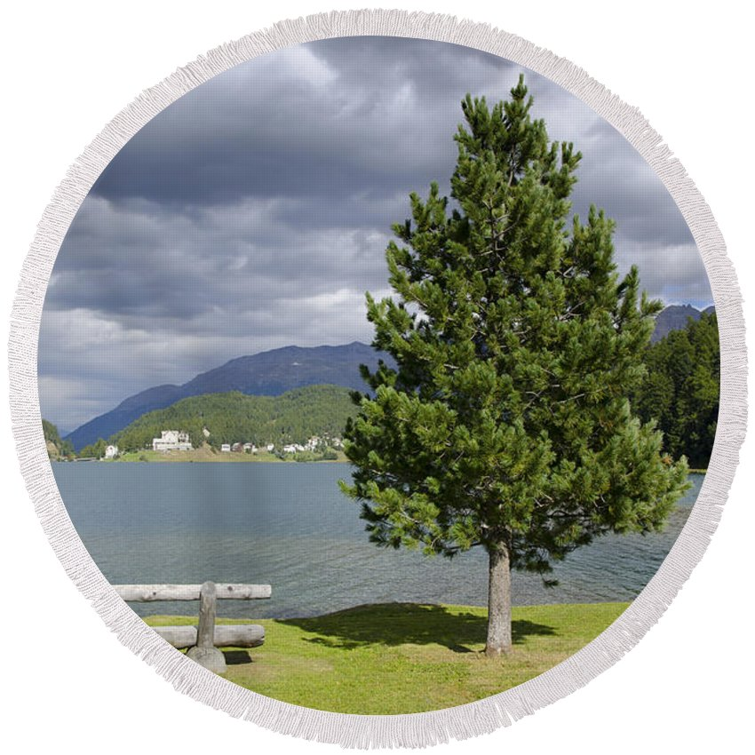 St Moritz Round Beach Towel featuring the photograph Bench And Tree by Mats Silvan