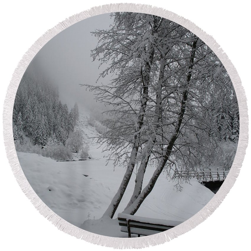 Bench Round Beach Towel featuring the photograph Bench In The Snow by Christiane Schulze Art And Photography
