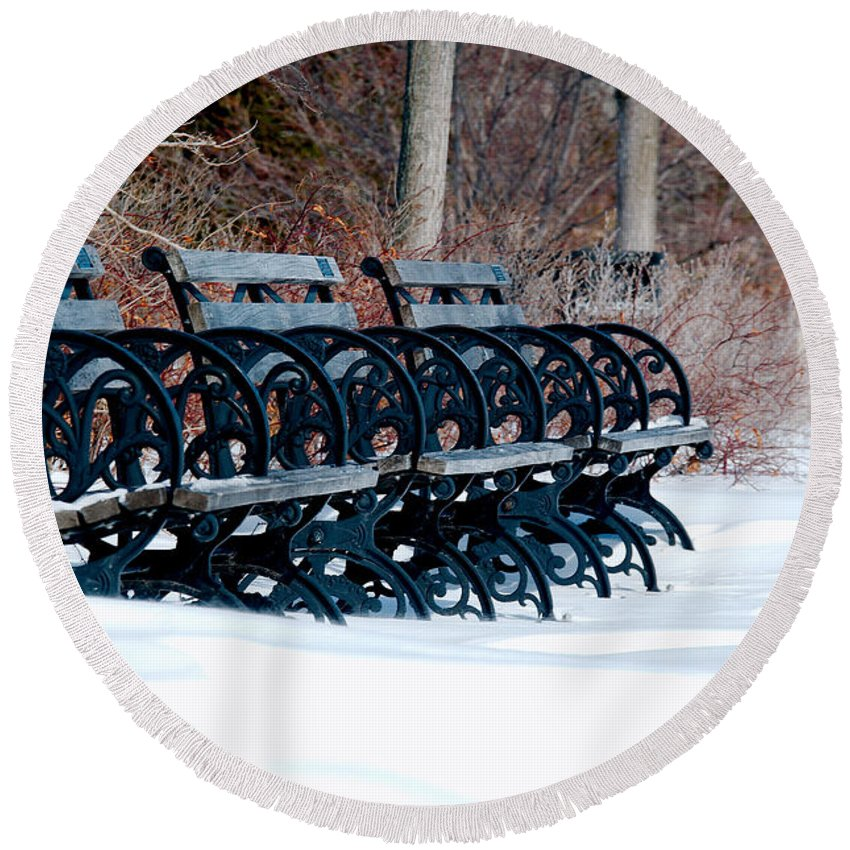 Benches Round Beach Towel featuring the photograph Benches In The Snow by Larry Jost