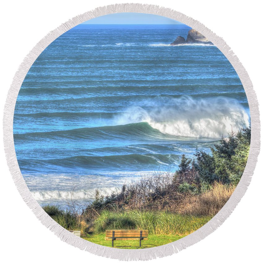Cannon Beach Round Beach Towel featuring the photograph Benches On The Beach by John Trax