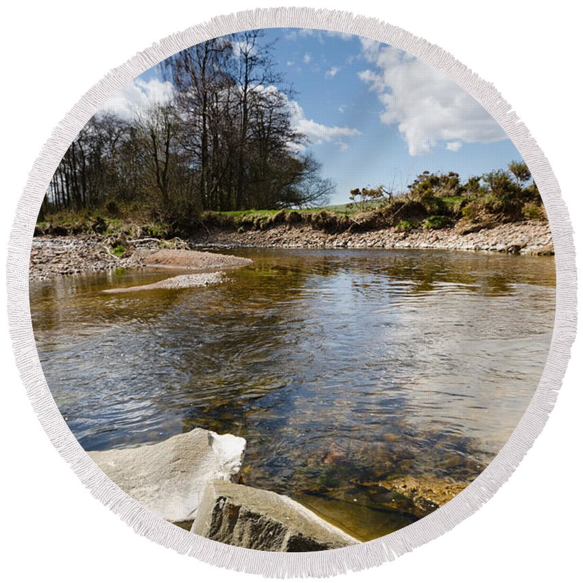 Northumberland Round Beach Towel featuring the photograph Bend In The Breamish River by David Head