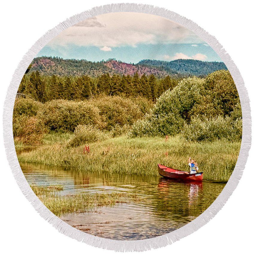 Digital Round Beach Towel featuring the digital art Bend/sunriver Thousand Trails by Bob and Nadine Johnston