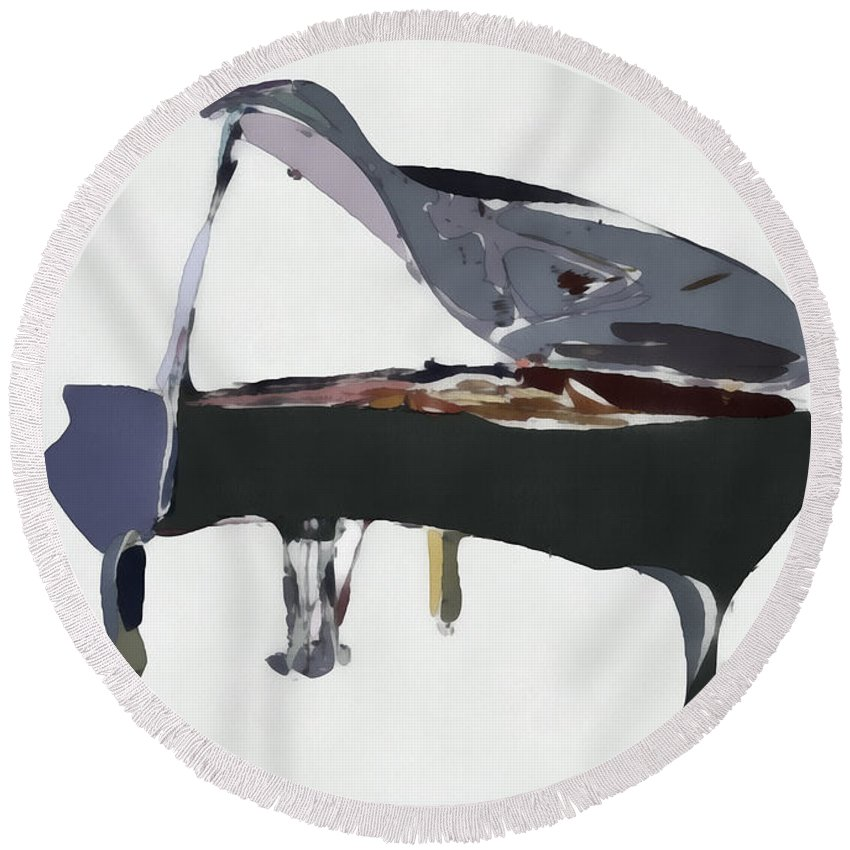 Piano Round Beach Towel featuring the digital art Bendy Piano by David Ridley