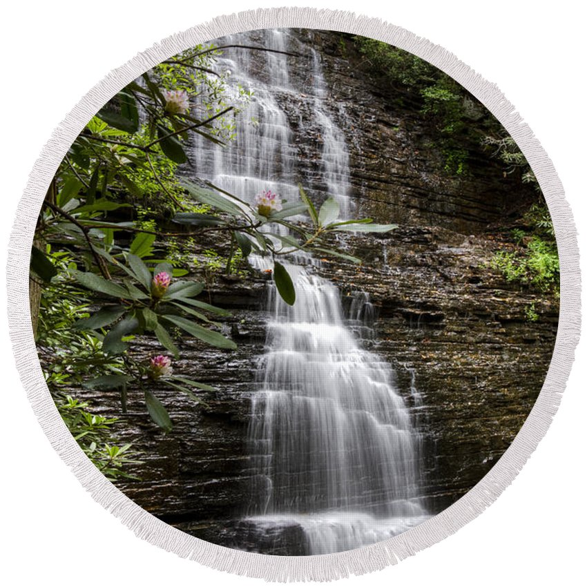 Appalachia Round Beach Towel featuring the photograph Benton Falls by Debra and Dave Vanderlaan