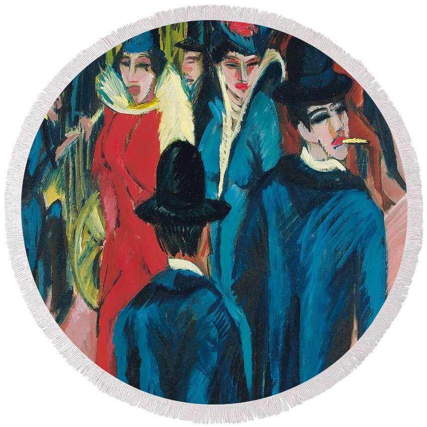 Berlin Street Scene Round Beach Towel featuring the painting Berlin Street Scene by Ernst Ludwig Kirchner