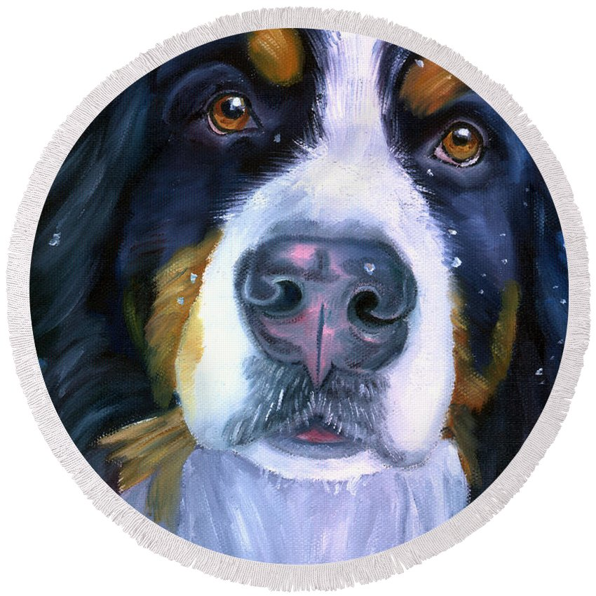 Bernese Mountain Dog  Round Beach Towels