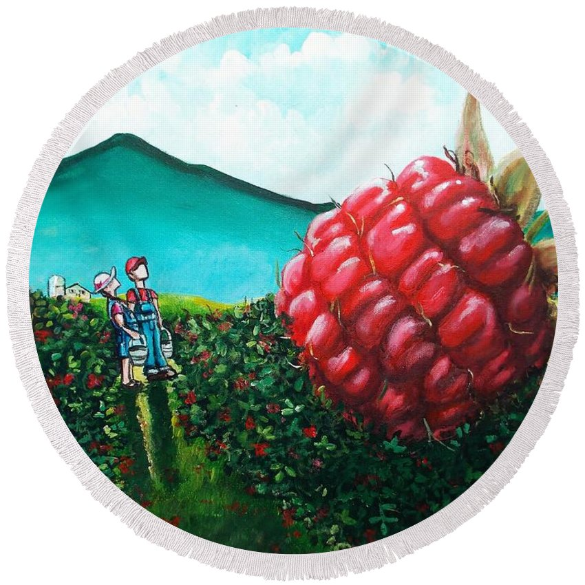 Berry Round Beach Towel featuring the painting Berried Alive by Shana Rowe Jackson