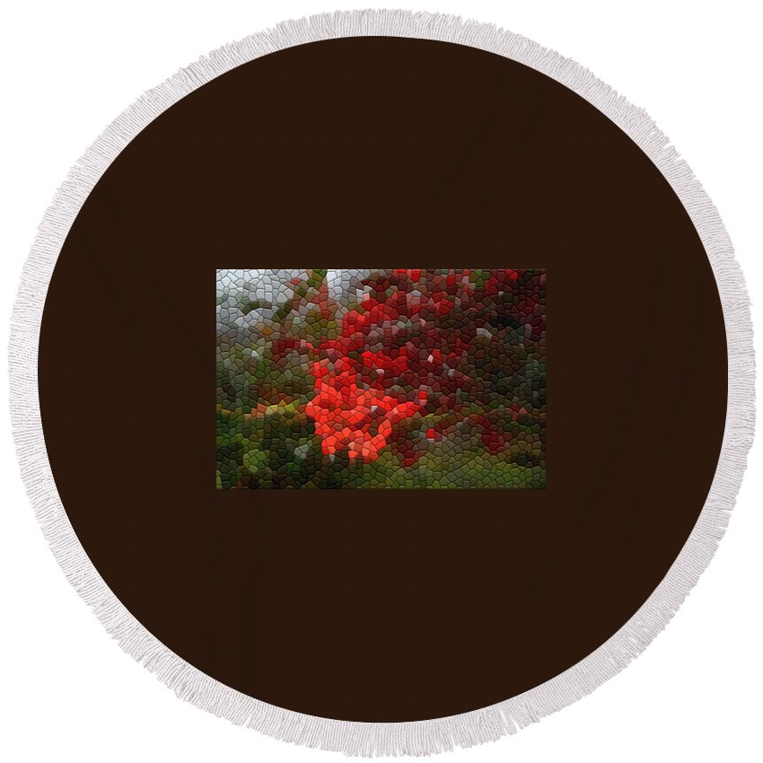 Mosaic Round Beach Towel featuring the photograph Berry Accidental by Kathryn Meyer