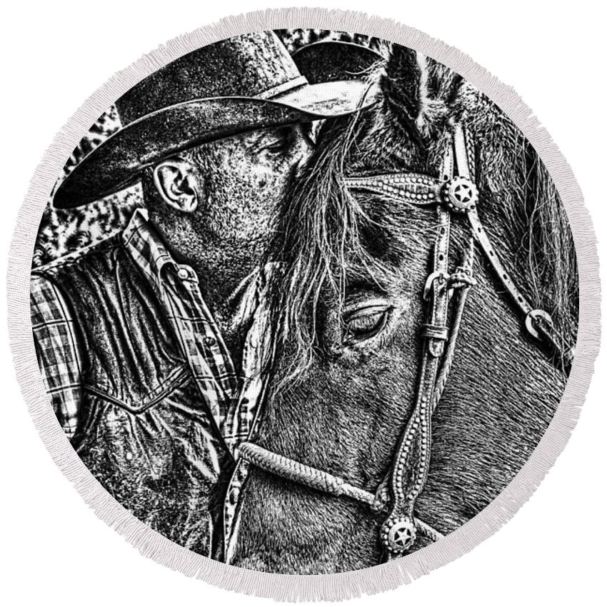 Cowboy Round Beach Towel featuring the photograph Best Fiends In Bw by Tommy Anderson