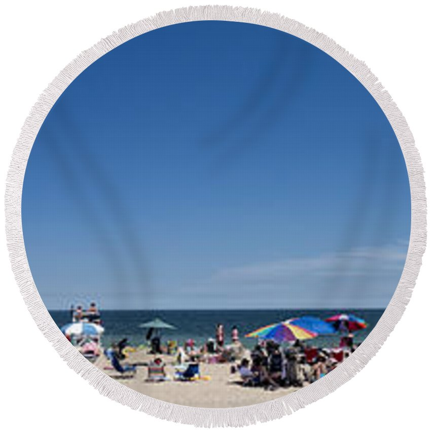 Beach Round Beach Towel featuring the photograph Bethany Beach Panorama by David Kay
