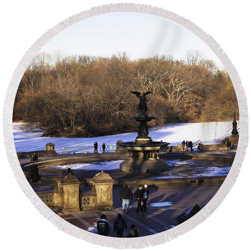 Bethesda Fountain Round Beach Towel featuring the photograph Bethesda Fountain 2013 - Central Park - NYC by Madeline Ellis