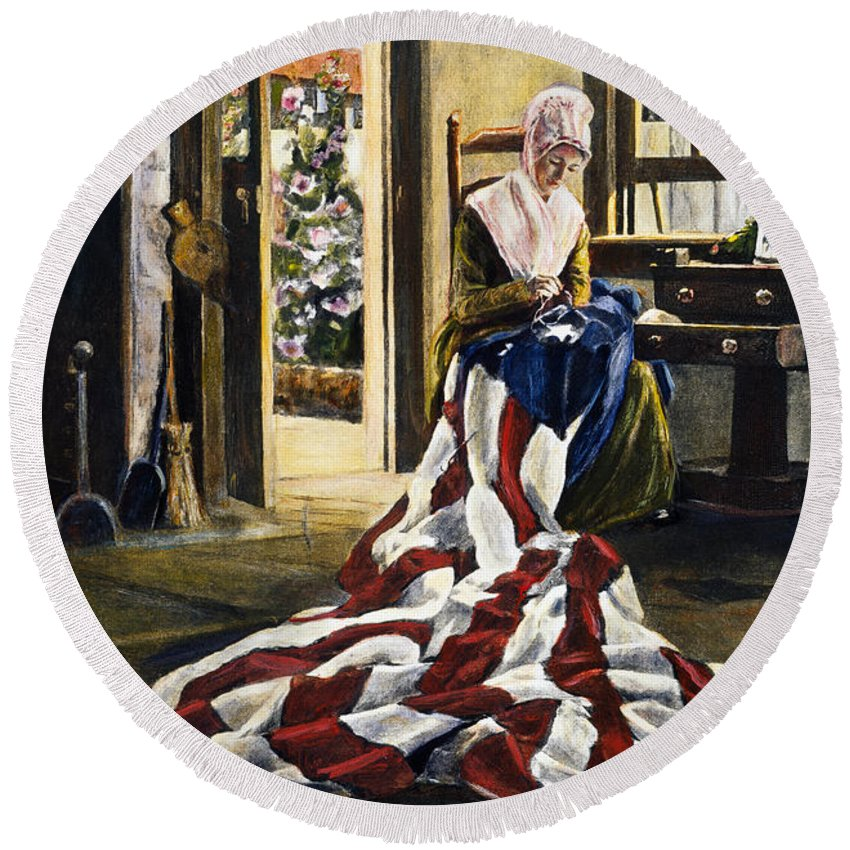 13 Star Flag Round Beach Towel featuring the photograph Betsy Ross (1752-1836) by Granger