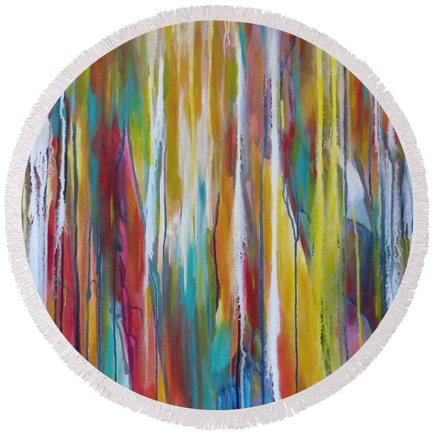 Abstract Round Beach Towel featuring the painting Between The Lines by Soraya Silvestri