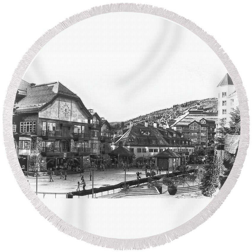 Beaver Creek Colorado Round Beach Towel featuring the photograph Bever Creek Skating Rink by Kristina Deane