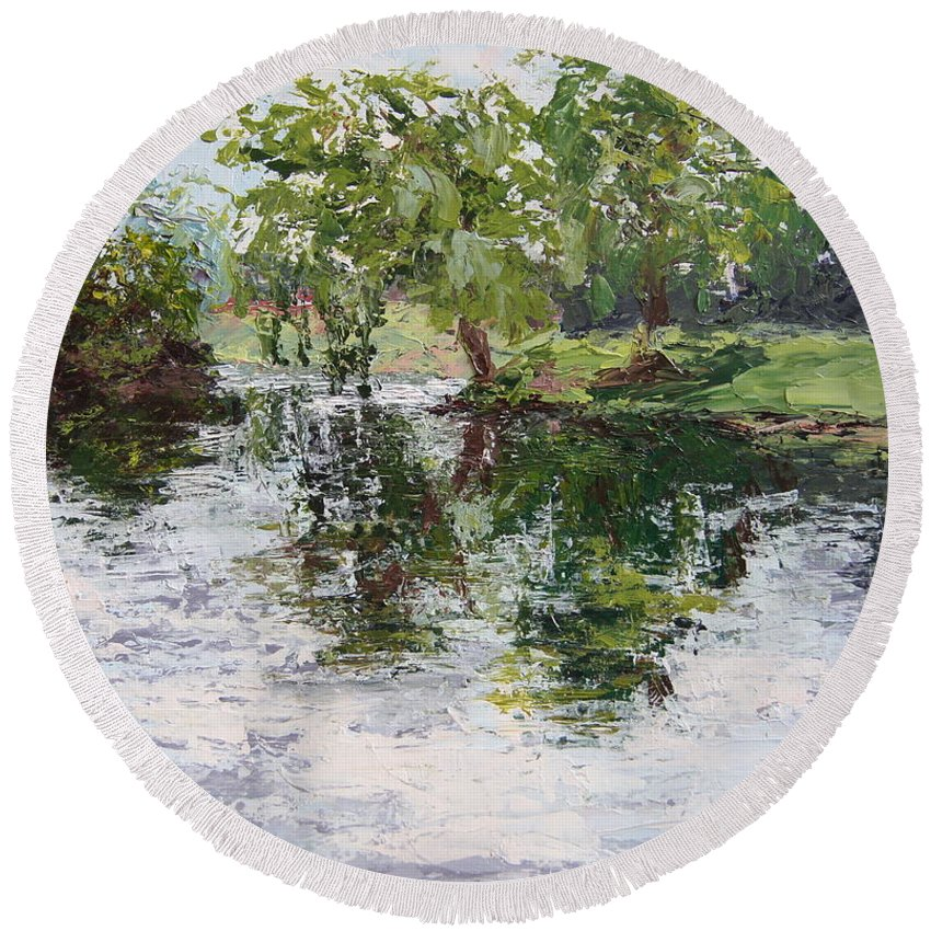 Bevier Park Round Beach Towel featuring the painting Bevier Park In The Rain by Mary Haas