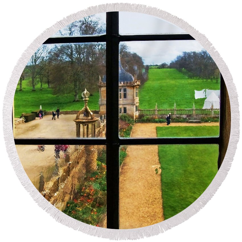 Montacute House Round Beach Towel featuring the photograph Beyond M'lady's Chamber by Susie Peek